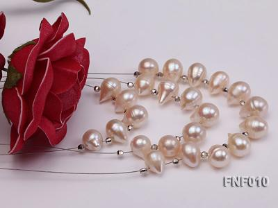 Three-Row 8-16mm White Freshwater Pearl Necklace with Argent Gilded Metal Beads FNF010 Image 2