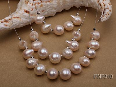 Three-Row 8-16mm White Freshwater Pearl Necklace with Argent Gilded Metal Beads FNF010 Image 3