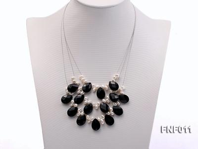Three-Row 4-6mm White Freshwater Pearl and 9x12mm Black Agate Beads Necklace FNF011 Image 1