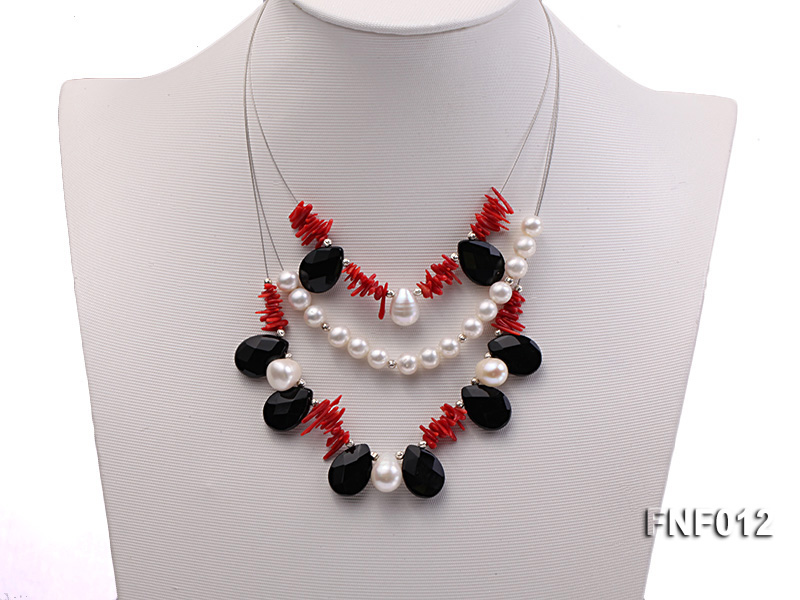 Three-row 6-7mm Freshwater Pearl, 9-10mm Black Agate Beads and Red Coral Sticks Necklace) big Image 1