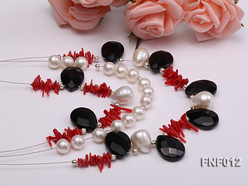 Three-row 6-7mm Freshwater Pearl, 9-10mm Black Agate Beads and Red Coral Sticks Necklace) big Image 2