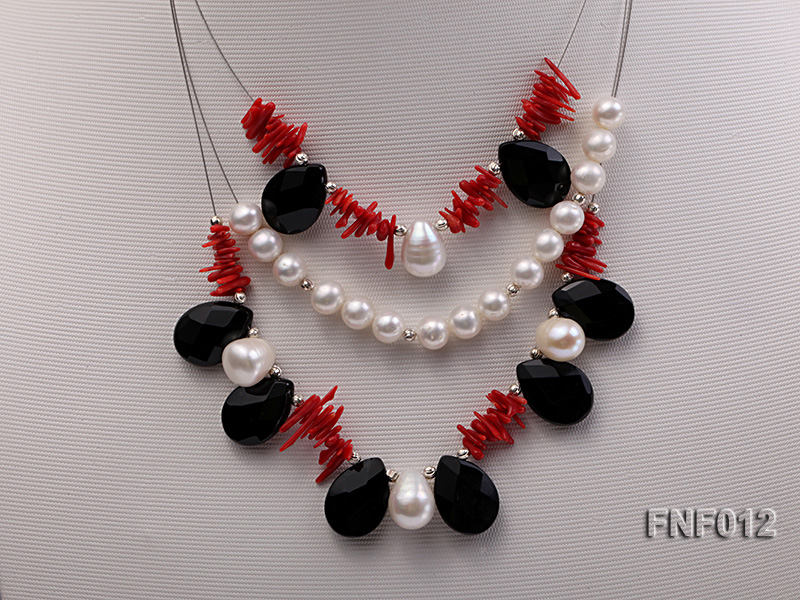 Three-row 6-7mm Freshwater Pearl, 9-10mm Black Agate Beads and Red Coral Sticks Necklace) big Image 4