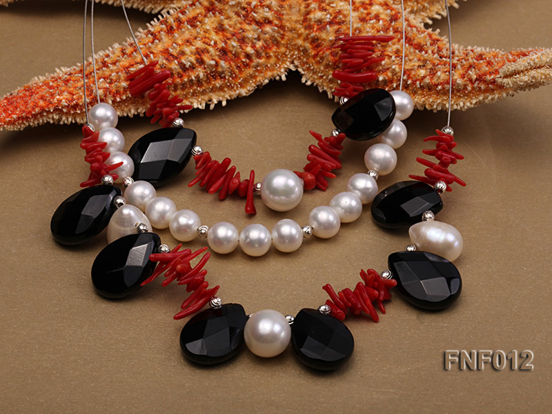 Three-row 6-7mm Freshwater Pearl, 9-10mm Black Agate Beads and Red Coral Sticks Necklace) big Image 5