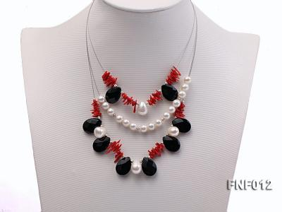 Three-row 6-7mm Freshwater Pearl, 9-10mm Black Agate Beads and Red Coral Sticks Necklace) FNF012 Image 1