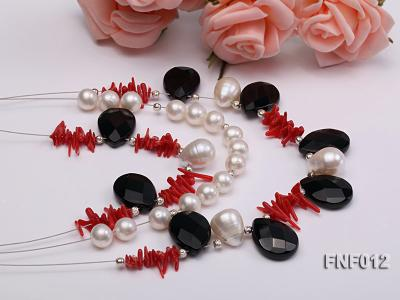 Three-row 6-7mm Freshwater Pearl, 9-10mm Black Agate Beads and Red Coral Sticks Necklace) FNF012 Image 2