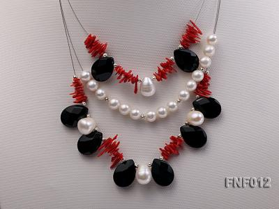 Three-row 6-7mm Freshwater Pearl, 9-10mm Black Agate Beads and Red Coral Sticks Necklace) FNF012 Image 4