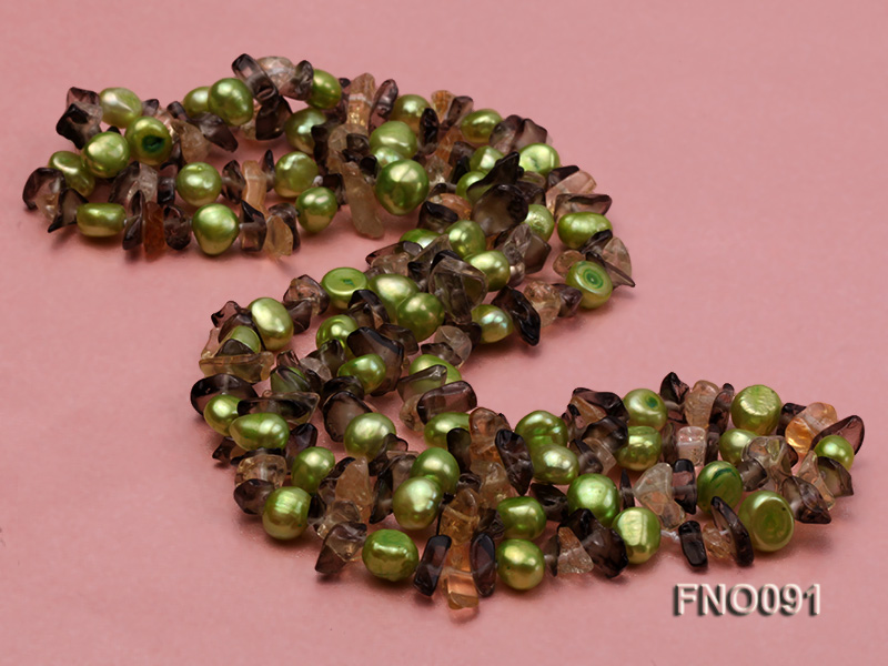 7-8mm green flat freshwater pearl and crystal chips necklace big Image 2