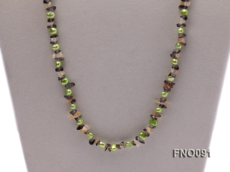 7-8mm green flat freshwater pearl and crystal chips necklace big Image 3