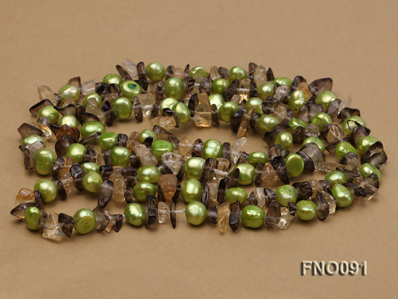 7-8mm green flat freshwater pearl and crystal chips necklace big Image 4
