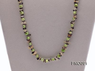 7-8mm green flat freshwater pearl and crystal chips necklace FNO091 Image 3