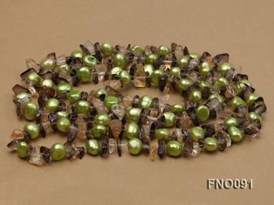 7-8mm green flat freshwater pearl and crystal chips necklace FNO091 Image 4