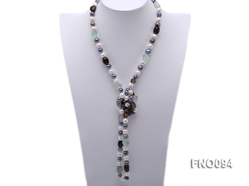 8-10 mm multicolor oval freshwater pearls and irregular amethyst necklace big Image 1