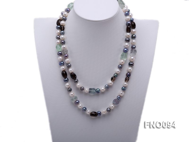 8-10 mm multicolor oval freshwater pearls and irregular amethyst necklace big Image 2
