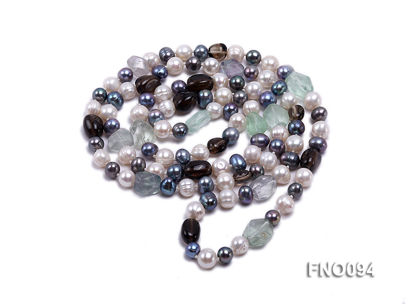 8-10 mm multicolor oval freshwater pearls and irregular amethyst necklace big Image 3