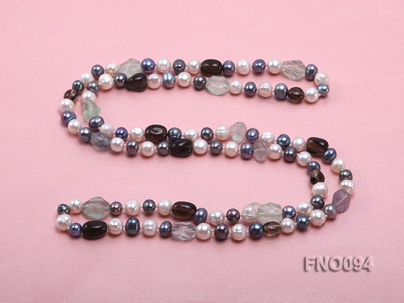 8-10 mm multicolor oval freshwater pearls and irregular amethyst necklace big Image 4