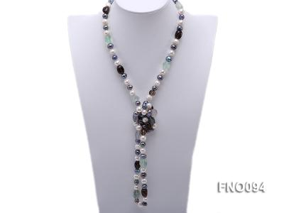 8-10 mm multicolor oval freshwater pearls and irregular amethyst necklace FNO094 Image 1