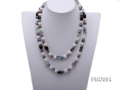 8-10 mm multicolor oval freshwater pearls and irregular amethyst necklace FNO094 Image 2