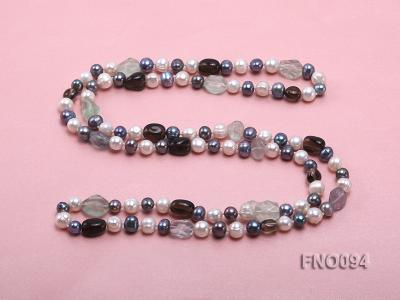 8-10 mm multicolor oval freshwater pearls and irregular amethyst necklace FNO094 Image 4