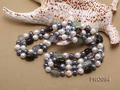 8-10 mm multicolor oval freshwater pearls and irregular amethyst necklace FNO094 Image 5