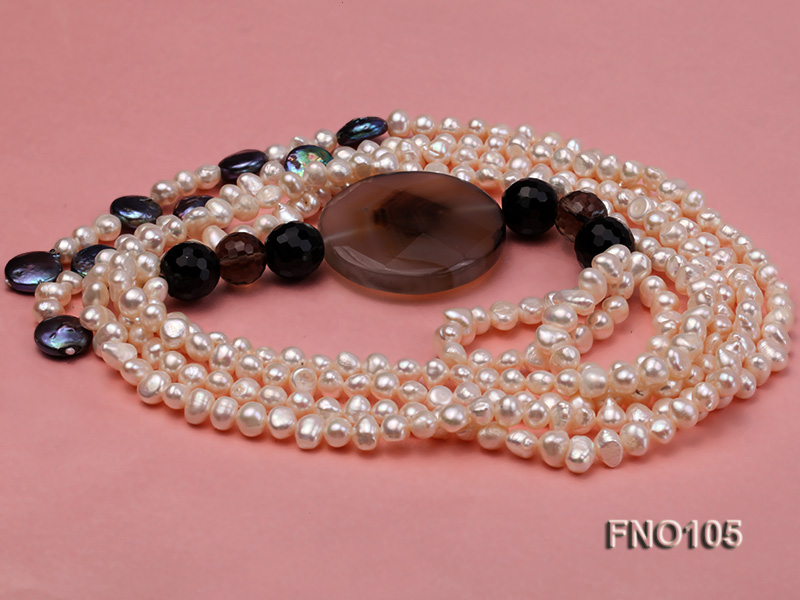 5-6mm white oval freshwater pearl and coin pearl and agate necklace big Image 2
