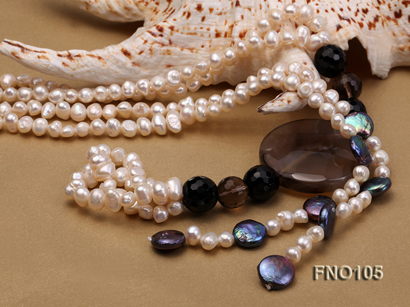5-6mm white oval freshwater pearl and coin pearl and agate necklace big Image 5