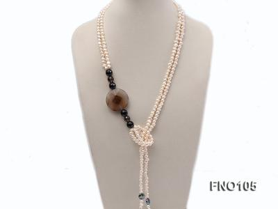 5-6mm white oval freshwater pearl and coin pearl and agate necklace FNO105 Image 1