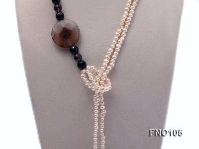 5-6mm white oval freshwater pearl and coin pearl and agate necklace FNO105 Image 3