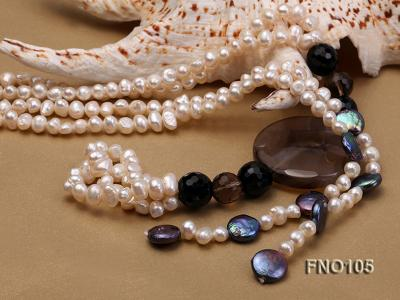 5-6mm white oval freshwater pearl and coin pearl and agate necklace FNO105 Image 5