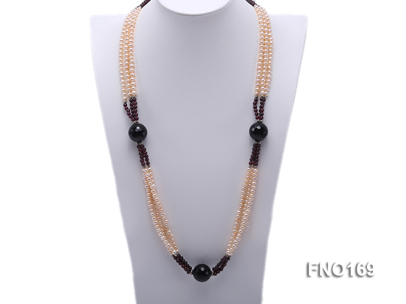 4-5mm pink oval freshwater pearl and black and red round agate necklace big Image 1