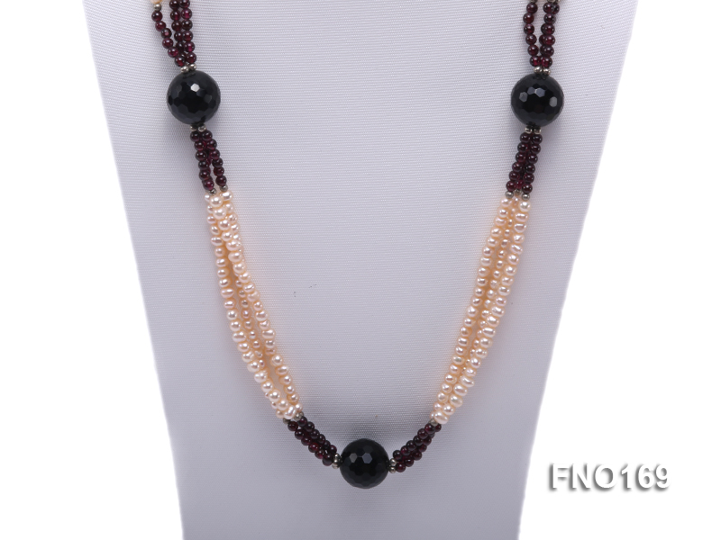 4-5mm pink oval freshwater pearl and black and red round agate necklace big Image 2