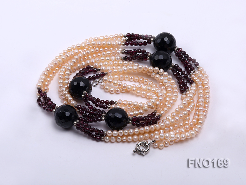 4-5mm pink oval freshwater pearl and black and red round agate necklace big Image 3