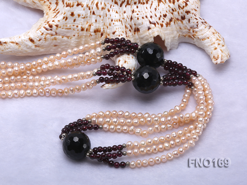 4-5mm pink oval freshwater pearl and black and red round agate necklace big Image 5