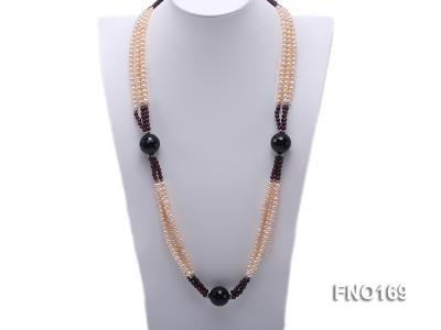 4-5mm pink oval freshwater pearl and black and red round agate necklace FNO169 Image 1