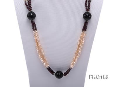 4-5mm pink oval freshwater pearl and black and red round agate necklace FNO169 Image 2