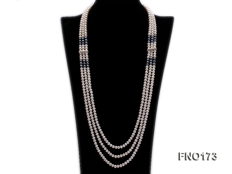 5-8mm white and black flat freshwater pearl multi-strand opera necklace big Image 1