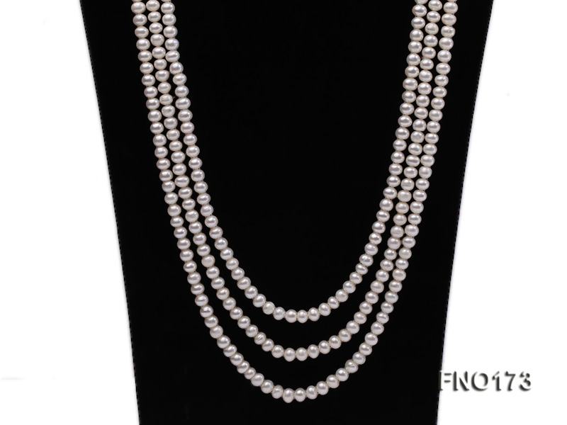 5-8mm white and black flat freshwater pearl multi-strand opera necklace big Image 2