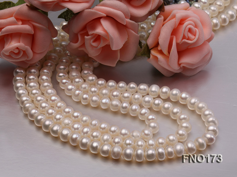 5-8mm white and black flat freshwater pearl multi-strand opera necklace big Image 4