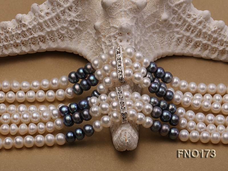 5-8mm white and black flat freshwater pearl multi-strand opera necklace big Image 5