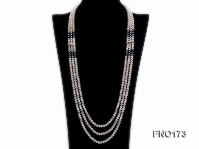 5-8mm white and black flat freshwater pearl multi-strand opera necklace FNO173 Image 1