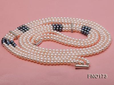 5-8mm white and black flat freshwater pearl multi-strand opera necklace FNO173 Image 3