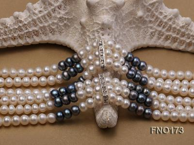 5-8mm white and black flat freshwater pearl multi-strand opera necklace FNO173 Image 5