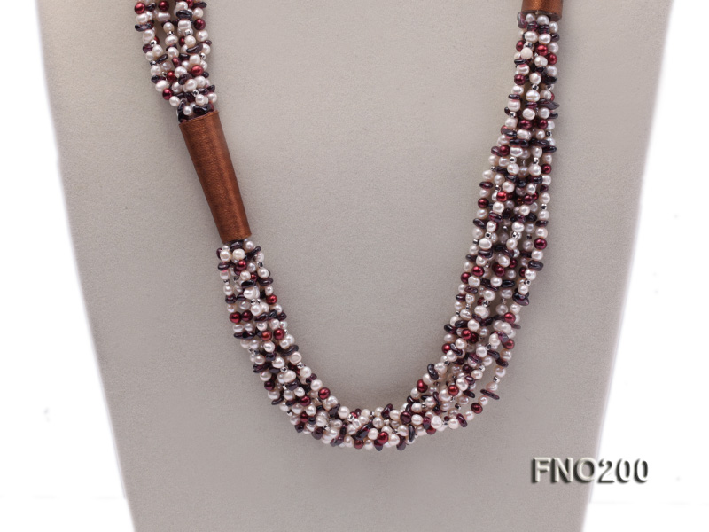 4-5mm multicolor round freshwater pearl and irregular garnet necklace big Image 2
