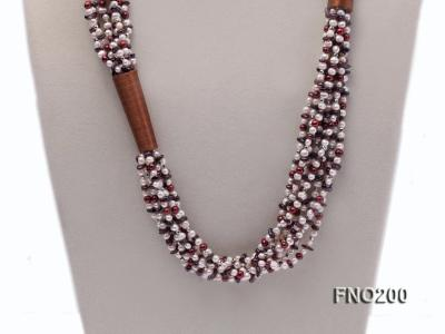 4-5mm multicolor round freshwater pearl and irregular garnet necklace FNO200 Image 2