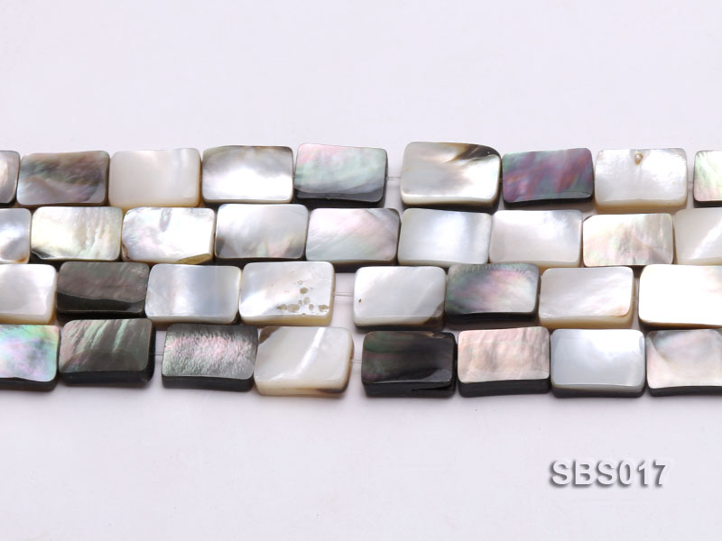 Wholesale 8x12mm Black Rectangular Seashell String big Image 2