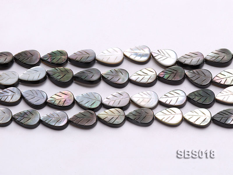 Wholesale 8x12mm Black Carved Leaf-shaped Seashell String big Image 2