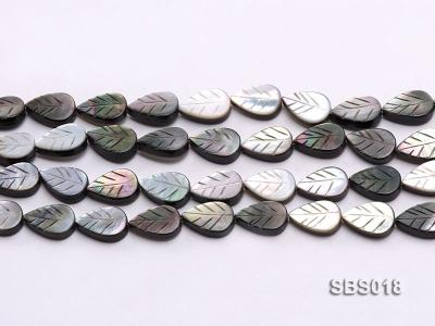 Wholesale 8x12mm Black Carved Leaf-shaped Seashell String SBS018 Image 2