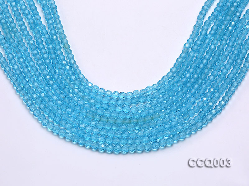 Wholesale 4mm Round Blue Faceted Simulated Crystal Beads String big Image 1
