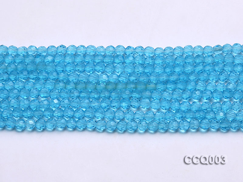 Wholesale 4mm Round Blue Faceted Simulated Crystal Beads String big Image 2