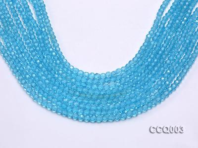 Wholesale 4mm Round Blue Faceted Simulated Crystal Beads String CCQ003 Image 1