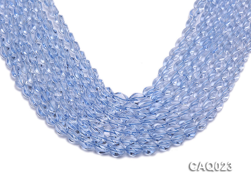 Wholesale 7x10mm Oval Faceted Simulated Aquamarine Beads String big Image 1